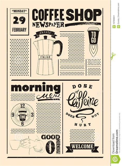 Coffee Shop Typographical Vintage Newspaper Style Poster Or Template Of Menu Retro Illustration Newspaper Style Menu Template