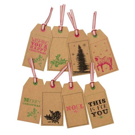 large kraft style christmas gift tags set of 8