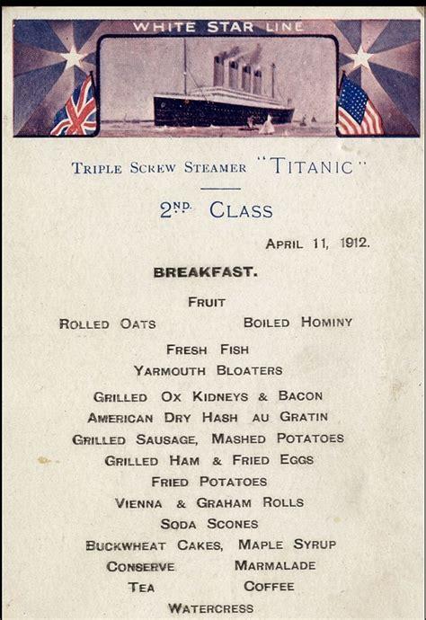 titanic third class menu the last surviving menus of the quot titanic quot