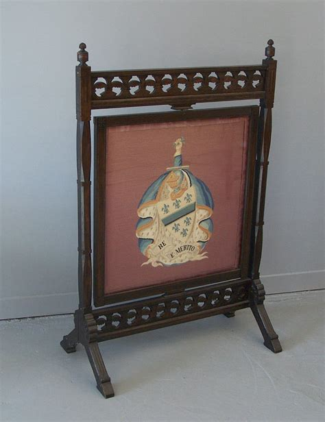 antique fireplace screens sale aesthetic movement eastlake walnut swiveling screen