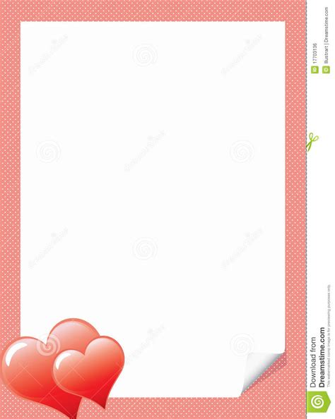 love letter template with hearts royalty free stock image