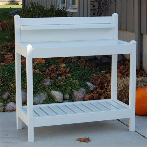 lowes potting bench shop dura trel 43 in x 49 in x 22 in white potting bench