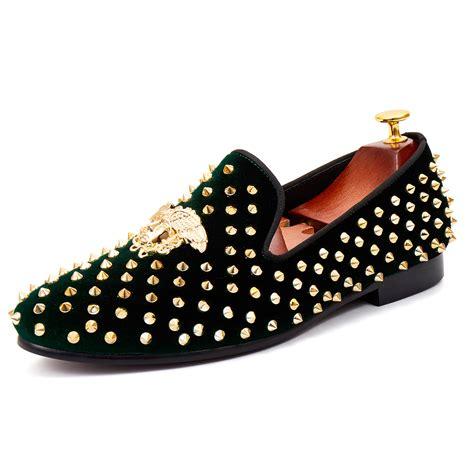 Slippers Handmade - harpelunde medusa buckle dress shoes green velvet
