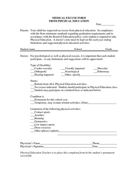 printable excuse letters 8 best images of free printable medical excuse forms