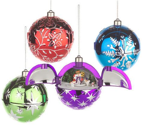 mr christmas set of 4 hidden holiday scene ornaments