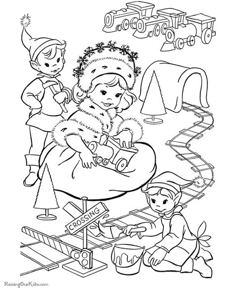 coloring page elf with present 19 best images about christmas vintage coloring page on