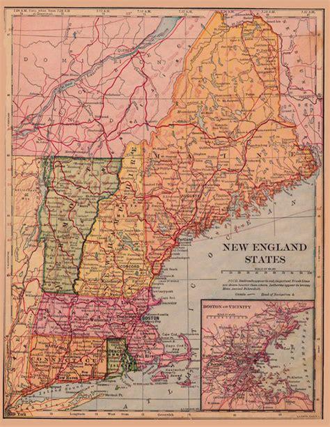 printable maps new england map of new england circa 1900 a printable digital download