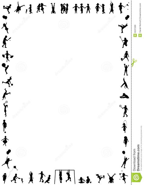 Children Play Border Stock Illustration Illustration Of