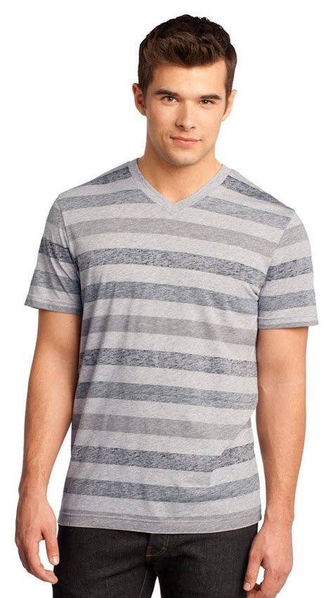 Oneck Stripes Grey district mens striped v neck