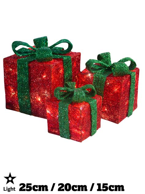 light up gift boxes presents set of 3 christmas glitter