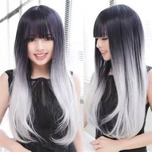 black grey hair short hair ombre blue grey dark brown hairs