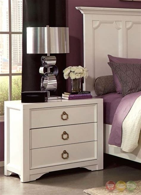 White Nightstand With 3 Drawers by Furiani White 3 Drawer Nightstand With Two Usb Ports