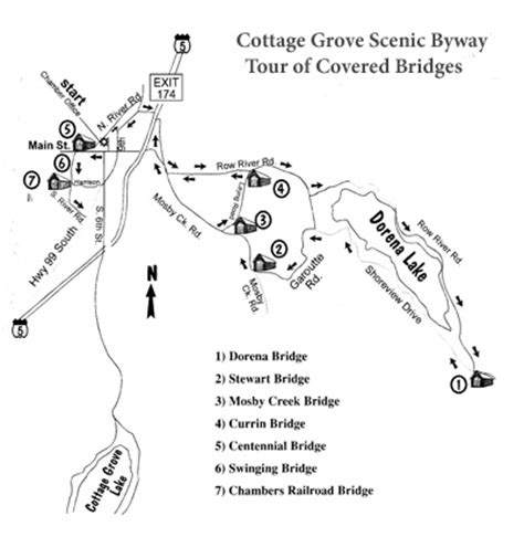 Cottage Grove Covered Bridge Tour Route by Attractions In Cottage Grove Maps Of Row River Trail And