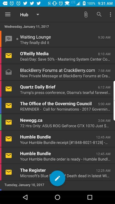 blackberry hub themes blackberry hub for android now has a dark theme