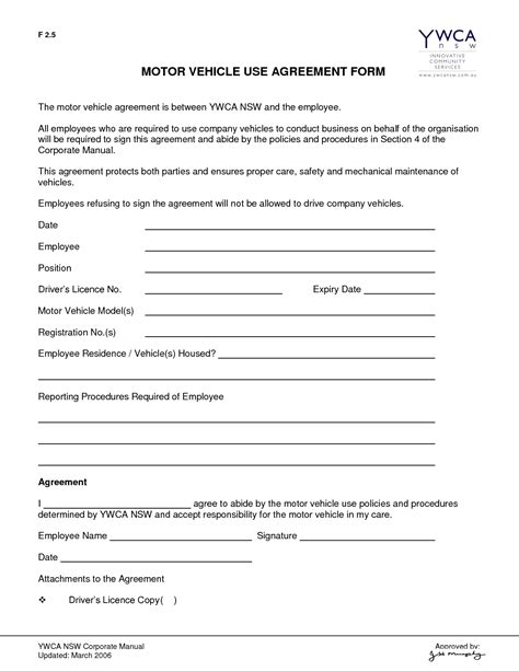 user agreement template company vehicle use agreement template vehicle forms