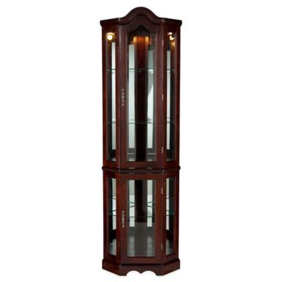 southern enterprises lighted corner curio cabinet in rich mahogany finish buy corner cabinet from bed bath beyond
