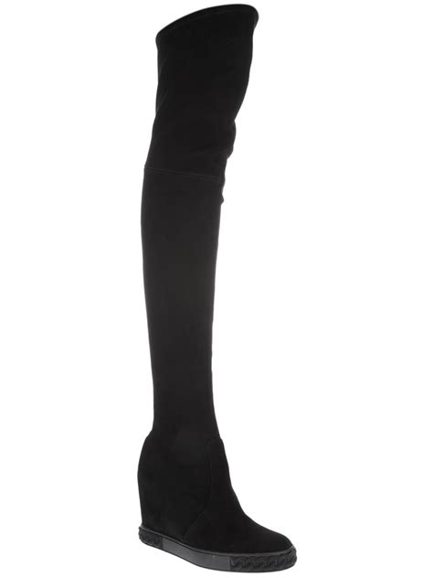 casadei thigh high boots in black lyst