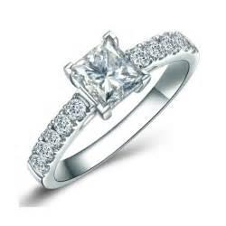 White Gold Chandelier Earrings 1 00 Carat Princess Cut Diamond Engagement Ring On Sale