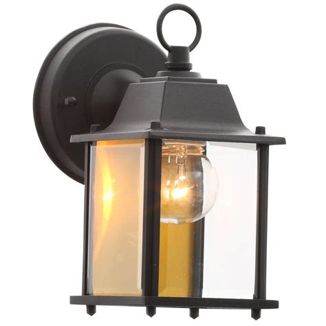 Hton Bay 1 Light Black Outdoor Wall Lantern Bpm1691 Blk Outdoor Black Light