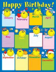 Dominie smile face birthday chart