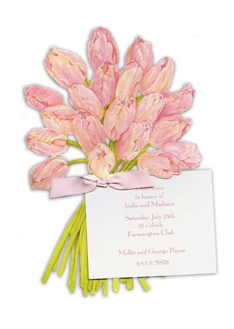 tulip wedding invitations bouquet of tulips bridal invitations polkadotdesign