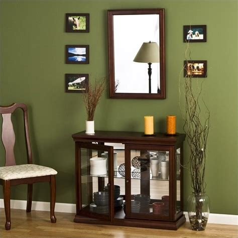 table with glass doors southern enterprises mahogany curio console table with