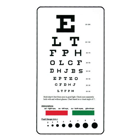 free printable pocket eye chart pocket snellen eye chart hopkins medical products