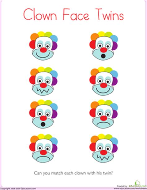 Clown Worksheets by Matching Clown Worksheet Education