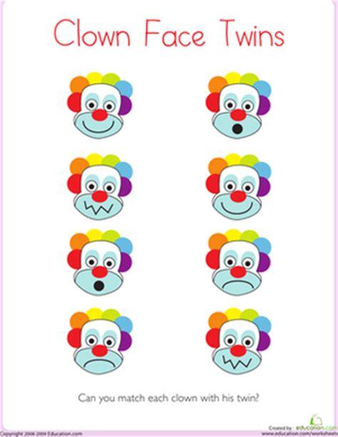 clown template preschool matching clown worksheet education