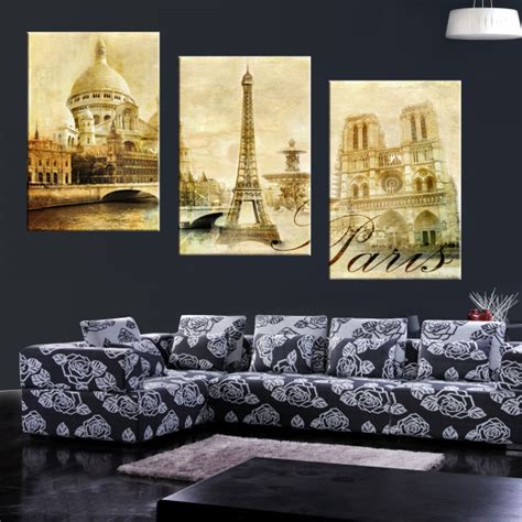 wall painting home decor 3 piece large paintings modern wall painting eiffel tower