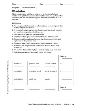 elements and the periodic table guided reading and study periodic table forms and templates fillable
