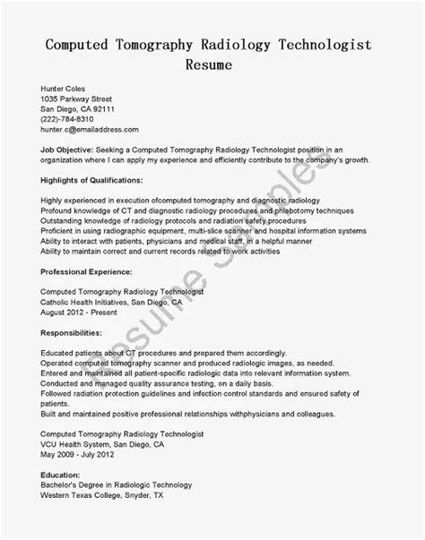 Tech Resume Examples by Great Sample Resume Resume Samples Ct Scan Technologist