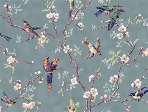 striking wall paper showing colourful birds  blossom
