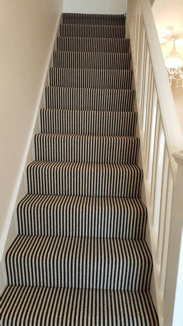 Stairs, Black and White Striped Carpet   The Flooring Group