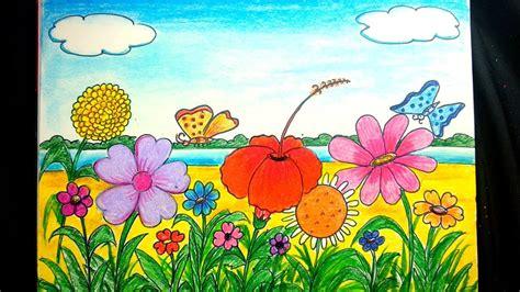 draw  scenery  flower garden step  step youtube