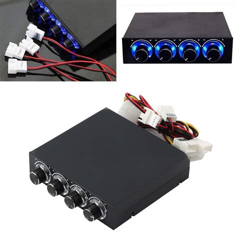 pc fan controller 3 5inch pc hdd cpu 4 channel fan speed controller led