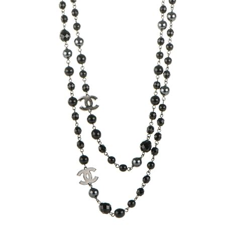 chanel beaded necklace chanel ruthenium beaded cc necklace black 177330