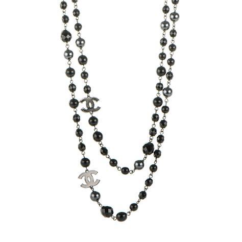 CHANEL Ruthenium Beaded CC Long Necklace Black 177330