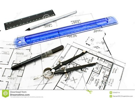 house drawing tool house plan blueprints with drawing tools stock images