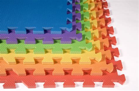 Play Mat Squares by Rainbow Play Mats Colorful Interlocking Foam Tile Pack
