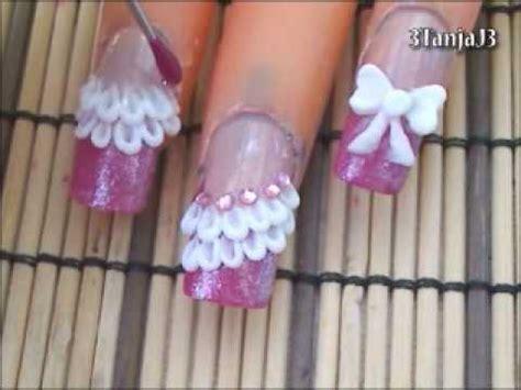 3d nail art tutorial acrylic cute bow lace 3d acrylic nail art design tutorial