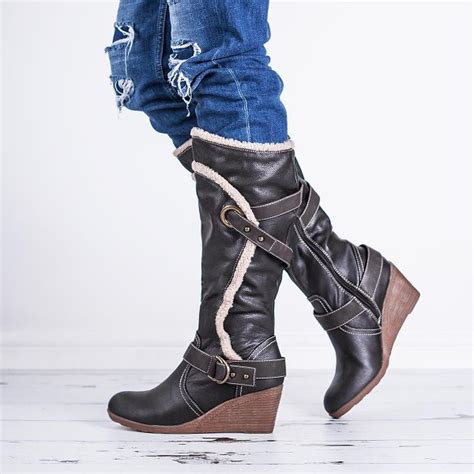 brown leather knee high boots with heel buy barb wedge heel knee high biker boots brown leather