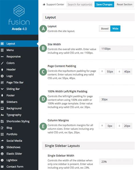 css layout right sidebar site width theme fusion