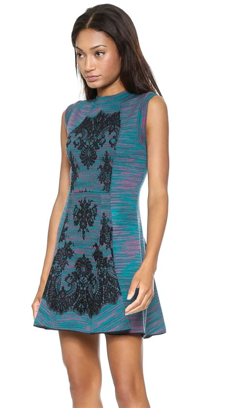 To The Bring A Missoni Bandeau Dress by Lyst M Missoni Space Dye Dress With Lace Overlay Teal In