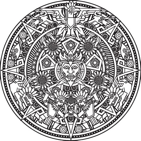 Free Coloring Pages Of Aztec Calendar Aztec Calendar Coloring Page