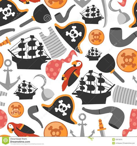 pattern for pirates seamless pattern with pirate elements stock vector