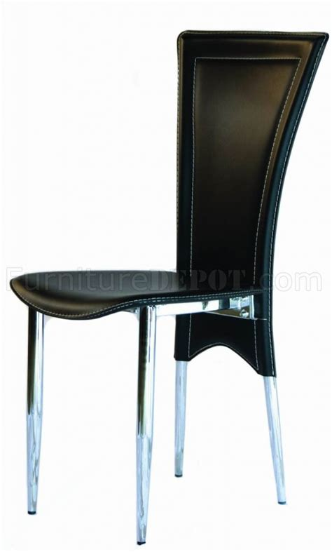 set of 4 black leatherette modern dining chairs w white