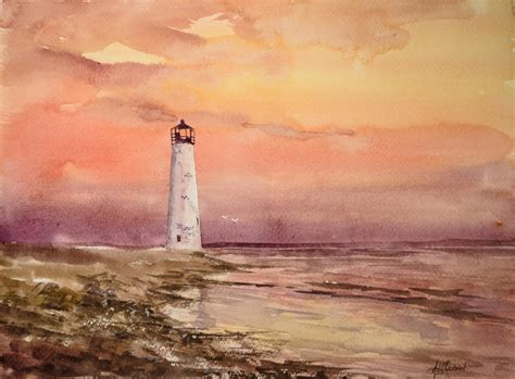 watercolor lighthouse tutorial sunset with a lighthouse in watercolor youtube