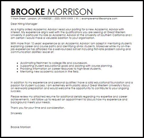 Academic Advisor Cover Letter Sample   LiveCareer