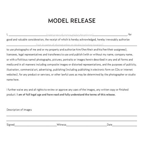 photography model release form documents a commercial photographer should